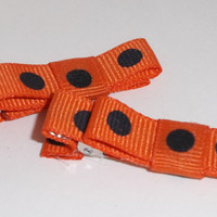 Orange and Black Polka Dots Hair Clip small by theotherstacey