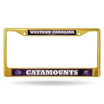 Western Carolina Catamounts NCAA Gold Painted Chrome Metal License Frame