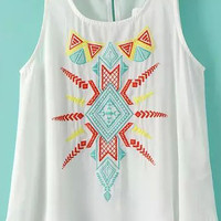 White Sleeveless Round Neckline Embroidered Chiffon Top