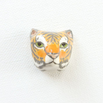 tiger head brooch by HandyMaiden on Etsy