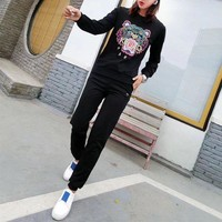 ONETOW Kenzo' Women Casual Fashion Embroidery Multicolor Tiger Head Letter Long Sleeve Sweater Trousers Set Two-Piece Sportswear