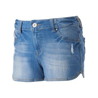 Amethyst Juniors' Body Con Low Rise Shortie Jean Shorts, Size: