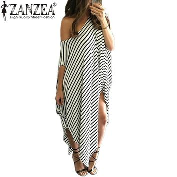 ZANZEA 2017 Bohemian Women Summer Sexy Off Shoulder Long Dress Striped Side Split Loose Casual Maxi Dresses Plus Size Vestidos