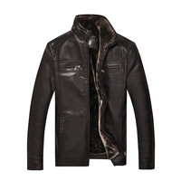 Men Leather Thicken Jackets Plus Cash With Fur Liner  Winter Mens Faux Fur Coat For Man