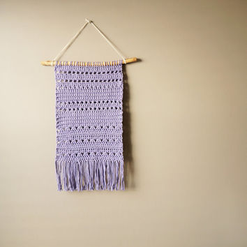 Bohemian Cotton Wall Hanging / Modern Woven Tapestry / Gypsy Fringe Tapestry / Crochet Art / Dusty Purple / Rustic Textile / Boho Home Décor