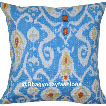 Ikat Kantha Pillow - Reversible Indian Cotton Cushion Cover Kantha Floral Embroidered Handmade Decorative Throw 16""