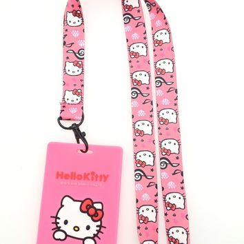 Retail 1 pcs pink new anime hello kitty Card Holder Identity Badge with Lanyard Neck Strap Card Bus ID Holders With Key Chain