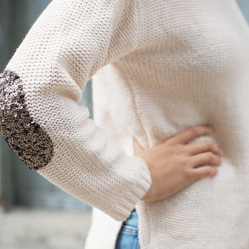 a pair and a spare . diy fashion: DIY SEQUIN ELBOW PATCH SWEATER