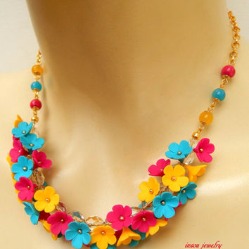 Colourful jewelry - Spring necklace - Forget me not - Handmade polymer necklace