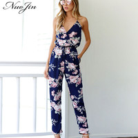 NuoJin Vintage Off the Shoulder Jumpsuit Women Floral Printed Deep V neck Backless Halter Jumpsuits Rompers Party Evening Female