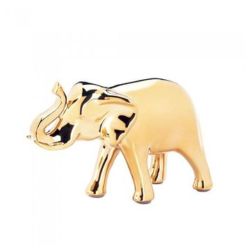 Small Golden Elephant Figurine