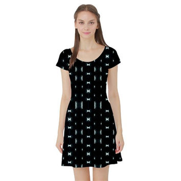 Futuristic Dark Hexagonal Grid Pattern Design Short Sleeved Skater Dress