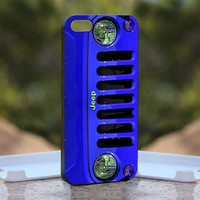 Blue Jeep Wrangler, Print on Hard Cover iPhone 5 Black Case
