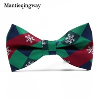 Mantieqingway Christmas Bowtie Formal Necktie Cravats Men's Santa Claus Bowties for Business