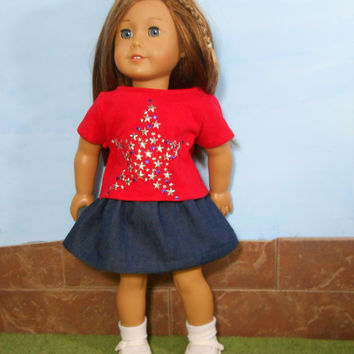 18 Inch Doll Skirt and T-Shirt, Patriotic Doll T- Shirt, Blue Jean Skirt,  Star T-Shirt, Red T-Shirt, 4th of July, fits American Girl Dolls