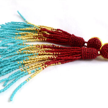 Beaded bridesmaid tassel earrings - long tassle earrings- statement seed beads earrings- red mix dangle tassel jewelry- boho fringe earrings