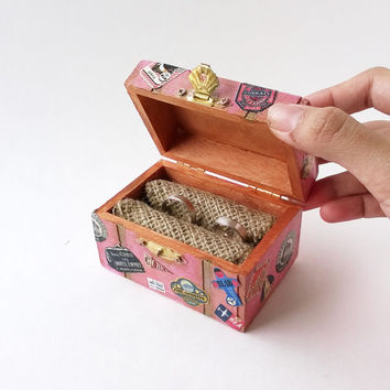 INTRO PRICE Pink Treasure Chest Ring Bearer - Travel Wedding Ring Box - Treasure Chest Ring Box - Wedding Ring Box - Rustic Ring Bearer