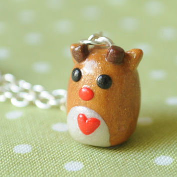 Reindeer Polymer Clay Kawaii Necklace Miniature Jewelry