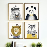 Cute panda Nordic Style Kids Decoration, Nordic Poster Nursery Wall Art Canvas Painting Posters And Prints,no frame