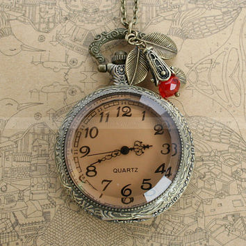 Retro style transparent pocket watch locket necklace by luckyvicky