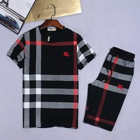 Boys & Men Burberry Shirt Top Tee Shorts Set Two-Piece