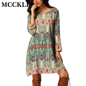 MCCKLE Women's Fashion Long Sleeve Floral Printed Summer Bohemian Dresses 2017 Newest Back V neck Casual A Line Boho Beach Dress