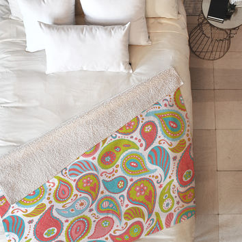 Heather Dutton Power Paisley Fleece Throw Blanket