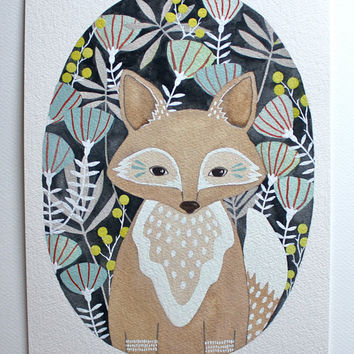 Fox Illustration Painting, Watercolor Art,  Archival Print - Little Fox Leo