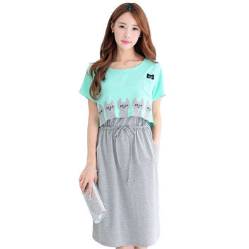 Maternity Clothing Wear Breast Feeding Cotton Maternity Dresses Clothes for Pregnant Women Pregnant Dress Fashion 2016 Summer