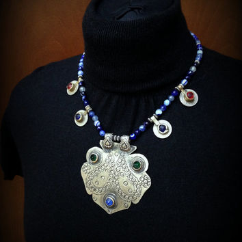 Blue Kashmiri Pendant Necklace with old Kuchi Coins and Agate Beads Tribal Kuchi Coin Necklace Gypsy Necklace Tribal Jewelry Blue Green Red
