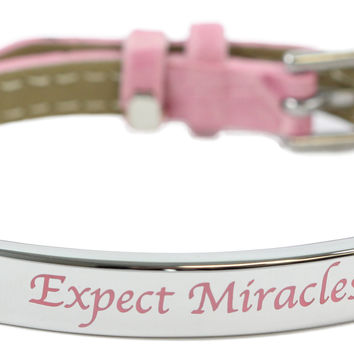 Expect Miracles Pink Leather Bracelet