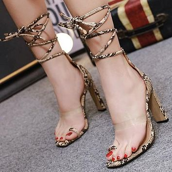 Hot Selling Transparent Cross-strap Thick-heeled Super High-heeled Shoes