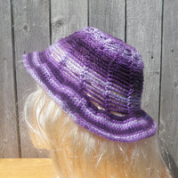striped hat, sun hat, purple ombre hat, crochet hat free USA shipping!