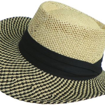 Paper Straw Gambler Wide Brim 2 Tone Golf Hat