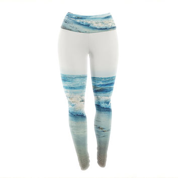 "Chelsea Victoria ""Beyond The Sea"" Blue Coastal Yoga Leggings"