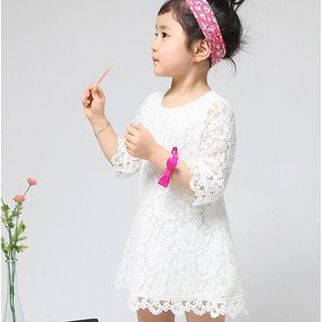 2-7Y Sweet Kids Baby Girl Sets Princess Dress Clothing Floral Flower Lace Party Dress