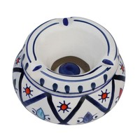 Smokeless Ceramic Ashtray With Lid, White And Blue By Benzara