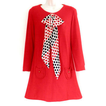 Mod Sixties Red Wool Dress with Polka Dot Neck Tie