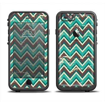The Vintage Green & Tan Chevron Pattern V4 Apple iPhone 6 LifeProof Fre Case Skin Set