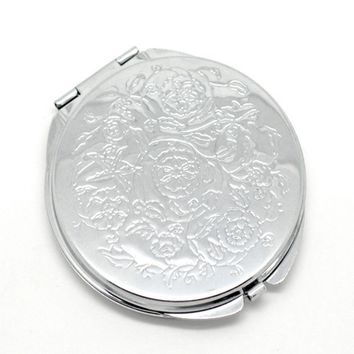 Fashion Makeup Tools Travel Hand Mirror White Gold Carved Flowers Pattern Compact Pocket Folding Makeup Cosmetic Magnifying Mirr