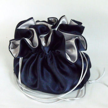Satin Bridal Money Purse   Money Dance Bag    Navy Blue and Silver  No Pockets