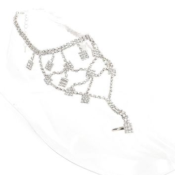 Clear Connected Toe Ring Rhinestone Chain Anklet