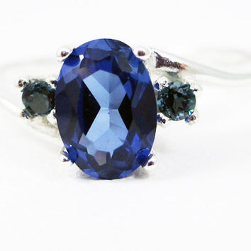 Blue Sapphire Oval and London Blue Topaz Ring Sterling Silver, September Birthstone Ring, Oval Blue Sapphire Ring, Three Stone Ring