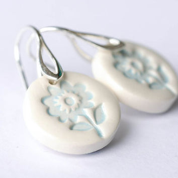 NEW!!! Sterling silver ceramic earring, light blue and white ceramic earring, folk art inspired everyday jewellery