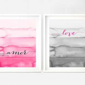 Neon pink and grey love and amor quote print, printable wall art, inspirational quote, pink ombre watercolor, grey ombre wall art -pp112C