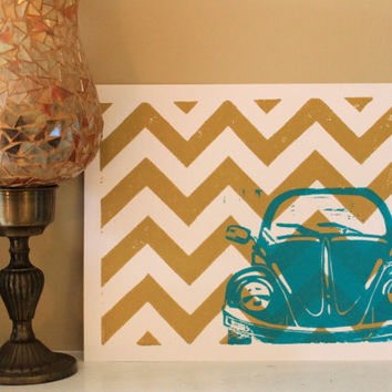 Retro VW Bug with Chevron Pattern, 8x10 Gold and Turquoise