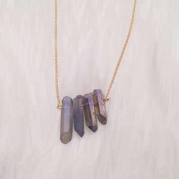 Smokey Gray Crystal Quartz Points Pendant Necklace - Natural Raw Healing Crystal Rock Stone Pendant Necklace