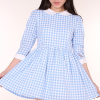 Glitters For Dinner — Made To Order - Caroline Baby Doll Dress in Blue Gingham