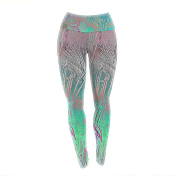 "Alison Coxon "" Indian Summer"" Purple Teal Abstract Yoga Leggings"