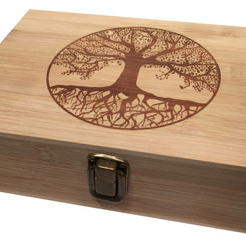 Tree of Life Engraved Large Cigar Box w/ Metal Latch Premium Bamboo Wood - Perfect for Rolling Papers Treasure Jewelry Great Gift Boxes BIG